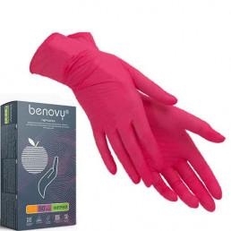 Перчатки нитрил, 100шт, Красные BENOVY M(7-8)