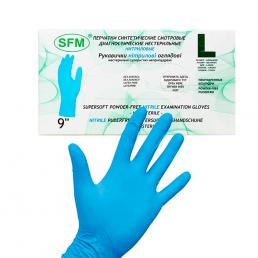 Перчатки нитриловые, 200шт, Голубые SFM L (8-9)