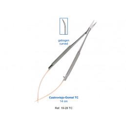 19-28TC Ножницы микро хирургические изогнутые Castroviejo TC, 14см, карбит-вольфрамовые вставки