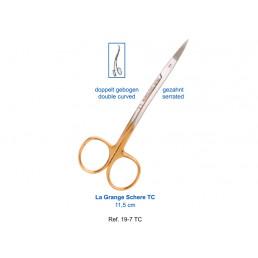 19-7TC Ножницы хирургические двойной изгиб La Grange TC, 11,5 см, карбит-вольфрамовые вставки