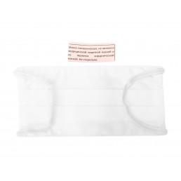 Маска на резинке из ткани (бязь 2 слоя), многоразовая, общего пользования, Белая (1шт)