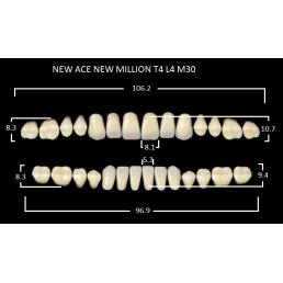 NEW ACE/NEW MILLION (С3-T4/L4-M30) (28шт) -двух слойные акриловые зубы. Yamahachi