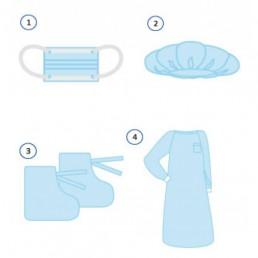 Комплект одежды для хирургов КОХ-01(20) (халат, маска, бахилы, колпак) стерильно. Инмедиз