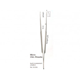 40-45A Пинцет микро анатомический изогнутый 18,0 см