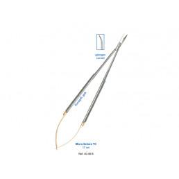 40-48B Ножницы микро хирургические изогнутыеКВ, 17см, карбит- вольфрамовые вставки