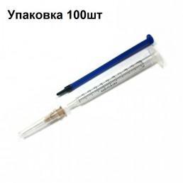 Шприц инсулиновый (100шт) 1 мл с иглой 0,4*13 мм (27G*1/2)(игла снимается)