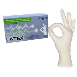 Перчатки латекс (1хлор) 100шт, MediOk, M (7-8)