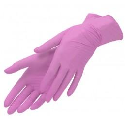 Перчатки нитрил, 100шт, Розовые SunViv L(8-9) AN316 Малайзия