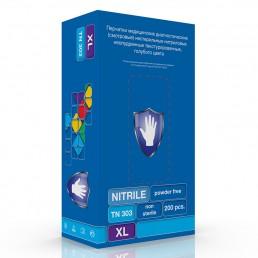 Перчатки нитрил, 200шт, Голубые Safe&Care TN303 L(8-9)