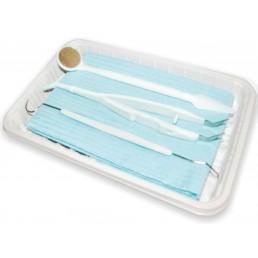 Набор стоматологический одноразовый (стерильный)  для осмотра пациента (зеркало, пинцет, зонд, нагрудник)