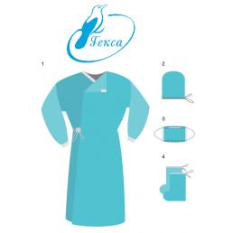 Комплект одежды для хирургов КХ-1 (халат, маска, бахилы, колпак) стерильно. ГЕКСА