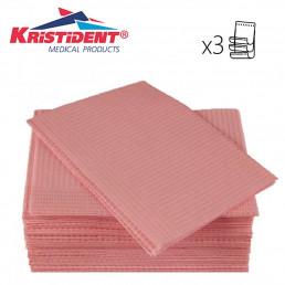 Салфетки нагрудники 3-х сл Розовые (500шт) КристиДент (Премиум)