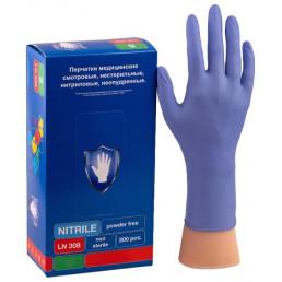 Перчатки нитрил, 200шт, Фиолетовые Safe&Care  L(8-9) LN308