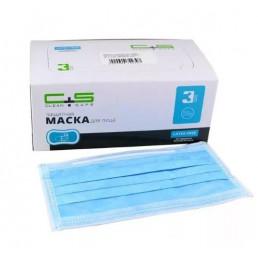 Маски на резинках Голубые (50шт) CLEAN+SAFE, 3-х сл              (КлинСейф)