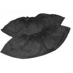 Бахилы 50микрон(5,1гр), 50пар, Черные, двойная резинка, Полихилл