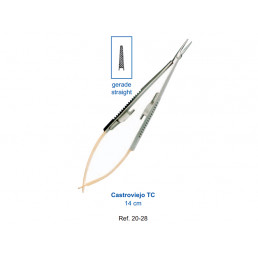20-28 Иглодержатель микрохирургическийпрямой 14,0 см Castroviejo TC, карбит-вольфрамовые вставки