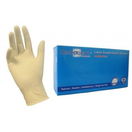 Перчатки латекс, 2хлор, 100шт,  Дисподент, M (7-8)