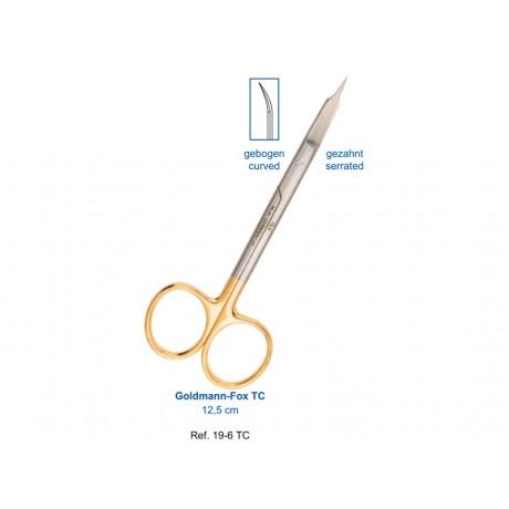 19-6TC  Ножницы хирургические изогнутые Goldmann-Fox TC,12,5см, карбит-вольфрамовые вставки
