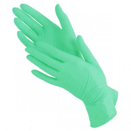 Перчатки нитриловые, ЗЕЛЕНЫЕ, 100шт, BENOVY, S (6-7)