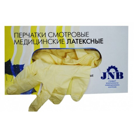Перчатки латекс, 2хлор, 100шт, JNB, M (7-8) (12.2019 не закупаем на склад)