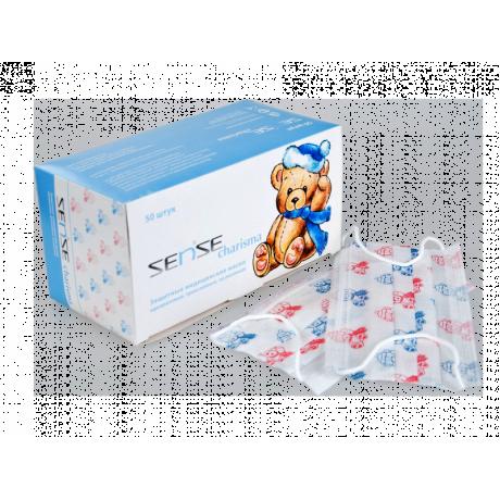 Маски на резинках с детским рисунком (50шт) SENSE Premium 3-х сл
