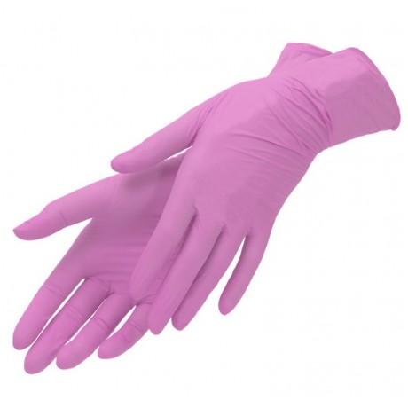 Перчатки нитрил, 100шт, Розовые SunViv S(6-7) AN316 Малайзия