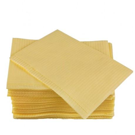 Салфетки д пациентов(нагрудники) 2-х сл Жёлтые  500шт Дисполенд